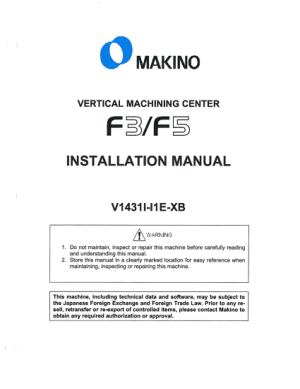 MAKINO F3 F5 Installation Manual