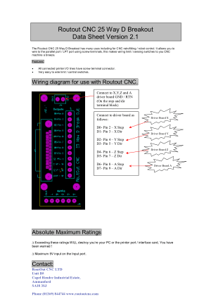 Routout CNC 25 Way D Breakout Data Sheet