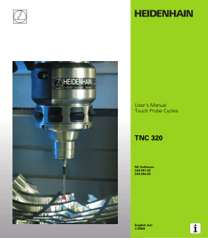 Heidenhain TNC 320 Touch Probe Cycles User Manual