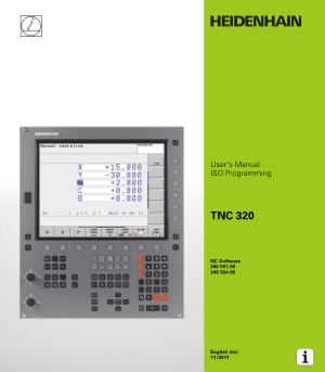 Heidenhain TNC 320 ISO Programming User Manual