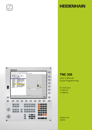 Heidenhain TNC 320 Cycle Programming Manual 771855-01