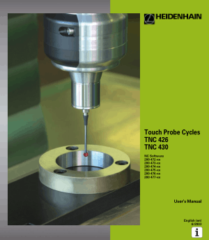 Heidenhain TNC 430 Touch Probe Cycles Manual