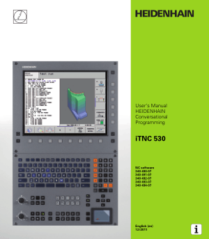 Heidenhain iTNC 530 Conversational Programming Manual 340 494-07