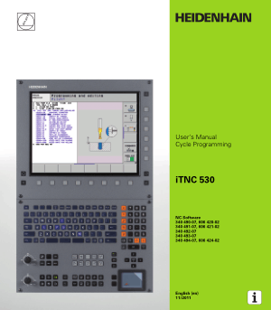 Heidenhain iTNC 530 Cycle Programming Manual 606 424-02