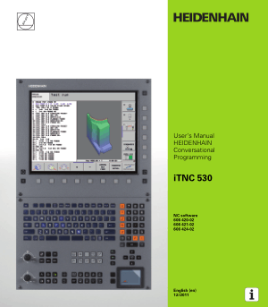 Heidenhain iTNC 530 Conversational Programming Manual 606 424-02