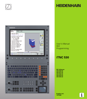 Heidenhain iTNC 530 ISO Programming Manual 340 494-03