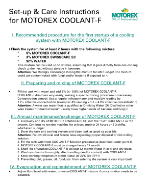 Set-up & Care Instructions for MOTOREX COOLANT-F