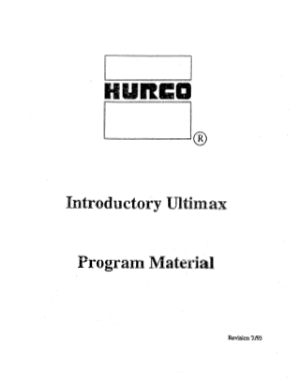 Hurco Introductory Ultimax Program Material