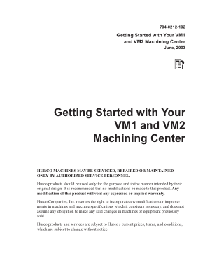 Hurco Getting Started with VM1 & VM2 Machining Center
