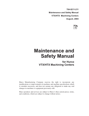 Hurco VTX HTX Machining Centers Maintenance and Safety Manual