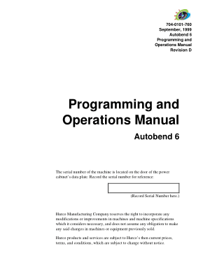 Autobend 6 Programming and Operations Manual