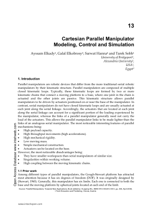 Cartesian Parallel Manipulator Modeling, Control and Simulation