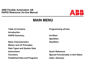 ABB Flexible Automation AB RAPID Reference Manual