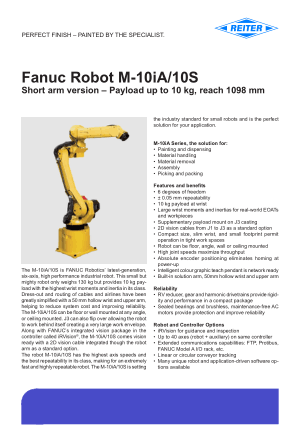 Fanuc Robot M-10iA 10S Technical Data