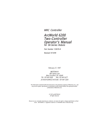 Motoman ArcWorld 6200 Two-Controller Operators Manual for SK-Series Robots