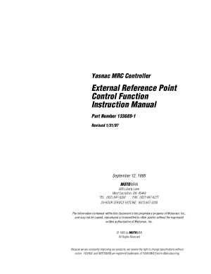 Motoman External Reference Point Control Function Instruction Manual