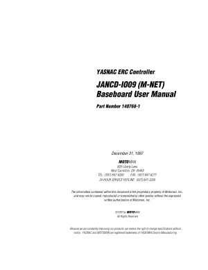 Motoman JANCD-IO09 M-NET Baseboard User Manual
