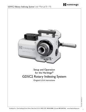 Hardinge GD5C2 Rotary Indexing System User Manual