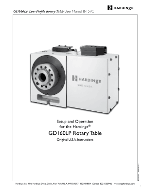 Hardinge GD160LP Low-Profile Rotary Table User Manual