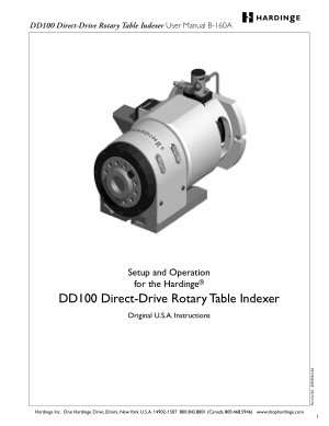 Hardinge DD100 Direct-Drive Rotary Table Indexer User Manual B-160A