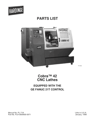 Hardinge Cobra 42 CNC Lathes Parts List