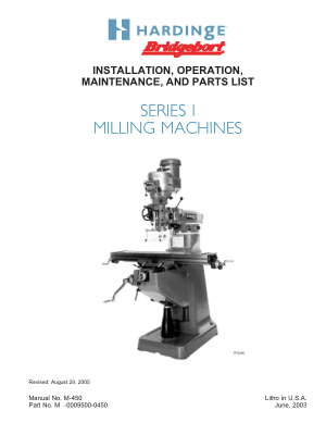 Hardinge Series I Milling Machines Operation Maintenance Parts List