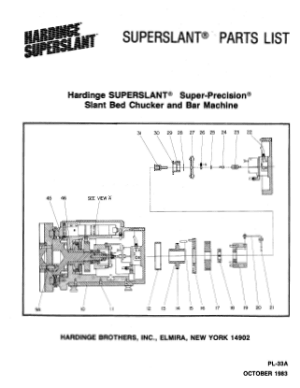 Hardinge SUPERSLANT Parts List