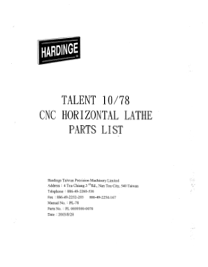 Hardinge TALENT 10 78 CNC Horizontal Lathe Parts List