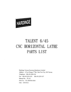 Hardinge TALENT 6 45 CNC Horizontal Lathe Parts List