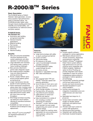 Fanuc R-2000iB Series Robot Basic Description & Specifications