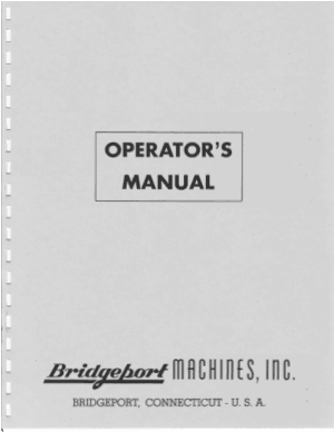 Bridgeport Round Ram Turret Milling Operators Manual