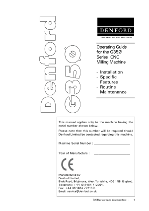Denford G350 CNC Milling Operating Manual