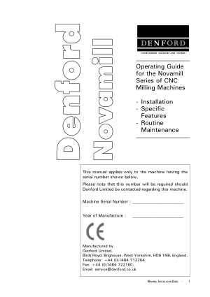 Denford Novamill Operating Guide