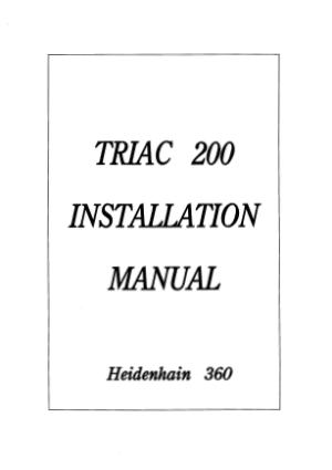 TRIAC 200 Installation Manual Heidenhain 360