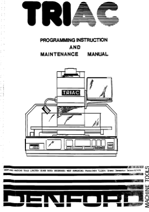 Denford TRIAC Programming Maintenance Manual