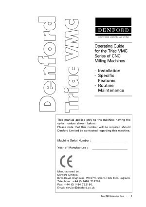 Denford Triac VMC Operating Guide