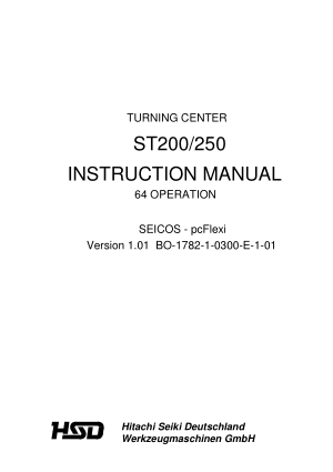 Hitachi Seiki ST200 250 Turning Center Operating Manual