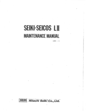 Hitachi Seiki Seicos Lii Maintenance Manual