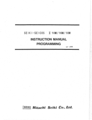 Seiki Seicos 10M 16M 18M Programming Instruction Manual