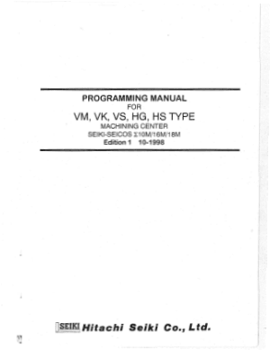 Hitachi Seiki VM VK VS HG HS Programming Manual