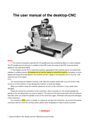 The User Manual of the Desktop-CNC
