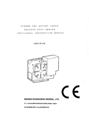 Nikken CNC Rotary Table CNC 320V 400V Instruction Manual
