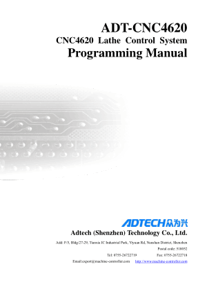 ADT-CNC4620 Lathe Control System Programming Manual