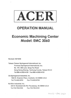 ACER EMC 3060 Machining Center Operation Manual