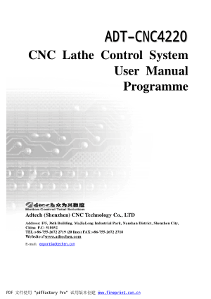 ADT-CNC4220 CNC Lathe Control System User Manual Programme