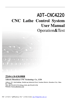 ADT-CNC4220 CNC Lathe Control System User Manual Operation &Test