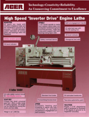 ACER High Speed Inverter Drive Engine Lathe