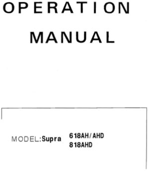 ACER SUPRA 618AH AHD 818AHD Operation Manual