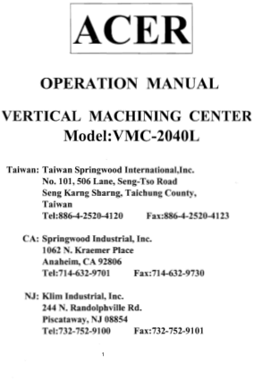 ACER VMC-2040L Operation Manual