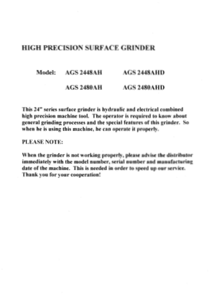 ACER AGS 2448AH Surface Grinder User Manual